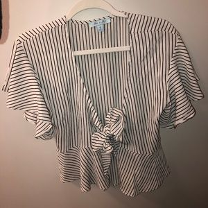 White and Black Striped Flowy Top